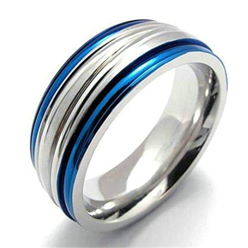 Gnzoe 9MM Uomo Acciaio inossidabile Anello, Due Tono Argento Blu Uomo Fidanzamento Matrimonio Anello Dimensioni (Tono Argento Drago)