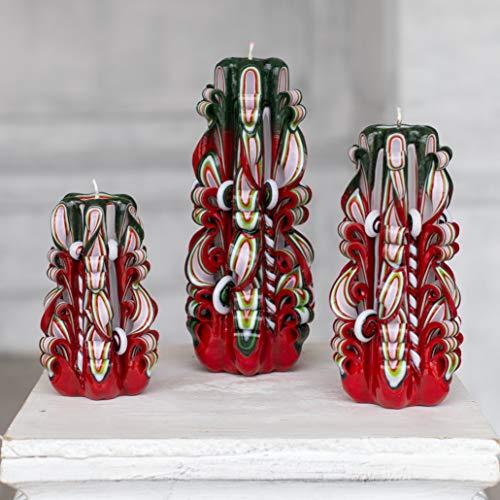 Geschnitzte Weihnachtskerzen - Rote grüne Dekoration - Weihnachtsgeschenkset für Heimtextilien und Geschenk für Sie und Ihn -