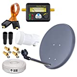 HB-DIGITAL Sat-Komplett-Set: Mini Sat Anlage 40cm Schüssel Anthrazit + LNB 0,1 dB + 10m Kabel + SAT-Finder mit analoger Anzeige und vergoldeten Anschlüssen + Fensterdurchfürung