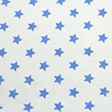 Neumann Handelsvertrieb Jersey Stoff 100% Baumwolle 165 cm Breit (50 x 165 cm, Sterne Blau Weiß)
