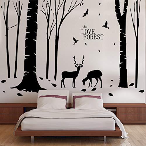 Home decoration vinyl deers in forest wall sticker rimovibili economici pvc house decor alberi e animali decalcomanie murali poster