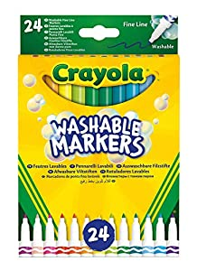 crayola-24rotuladores Lavables, Punta Fine, Surtidos, para Escuela y Ocio, Color, 58-6571