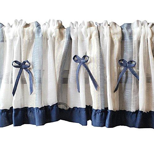 Cortina romana Tul Raya Azul Corbata de moño Gasa Cortina de café Cocina Corta Cortina Semi-sombra Cortina pequeña para Decoración hogareña Bolsillo de la barra , 1pc(150x60 cm)