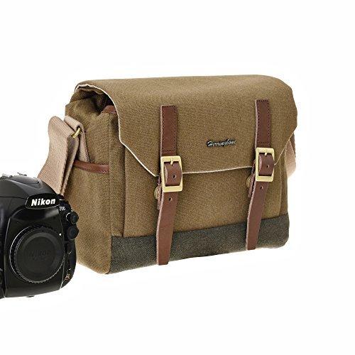 Herringbone Digital-Spiegelreflex-Kameratasche Camera Bag DSLR Case Postman Spiegelreflex Universaltasche mit Schnellzugriff, Staubschutz, Tragegurt und Zubehörfach H0981 Khaki Klein - Small Slr Lens Case