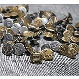 DAHI Jeansknöpfe 120 Sets Metallknöpfe - Druckknöpfe Leder Snaps Knöpfe Bronze/Silber 12 Muster