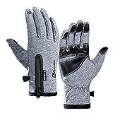 iKulilky Winter Handschuhe,Warm Fahrradhandschuhe,Damen Herren Touchscreen Smartphone Handschuhe Outdoor Gloves Rutschfest Winddicht für Sport Laufen Arbeit Fitness Camping (Grau) - XL