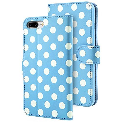 Custodia Portafoglio iPhone 7 Plus iPhone 8 Plus, i-Blason [Wallet Case] - Custodia in pelle Premium Quality / Custodia a Portafoglio / Wallet / Vera Pelle per Apple iPhone 7 Plus / iPhone 8 Plus - Co AZZURRO / BIANCO ( iPhone 7 Plus )