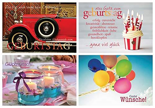Edition Colibri - Set di 4 biglietti d'auguri pieghevoli, motivo: auto, cupcake, palloncino, candele, auto d'epo