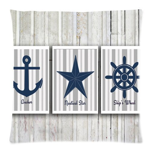 Warm color Charming Frame - Vintage Anchor Star Sailing Logo with Grey Wood Background Design Cushion pillow cover case,Twin Sides Zippered pillow cover case Pillow Cover 18 inches