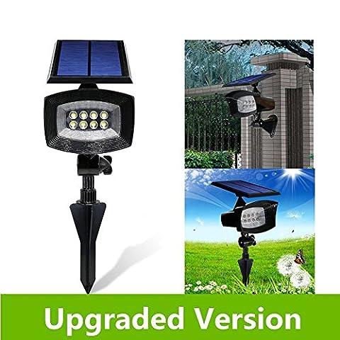 [Nouveau] yinghao 400lumens Super Bright 8Spot Solaire à LED, 2en 1d'installation, batterie longue de fonctionnement, lumière réglable et panneau, auto-changeable Modes d'éclairage, imperméable, maison et jardin à l'aide.