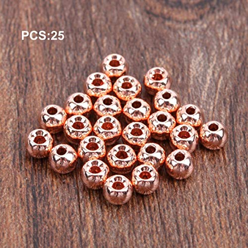 Heaviesk 25 stücke Wolfram Geschlitzte Fliegenbinden Kopf Perlen Nymphkopf Ball Perlen Fliegenbinden Materialien 2/2,4/2,8/3,3/3,8/4,6mm (2-ball-kopf)