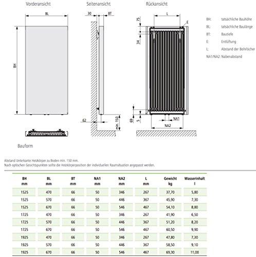 Kermi Rubeo Designheizkörper 57 x 173 cm, weiß RAL 9016, PSS211700602XXK - 4