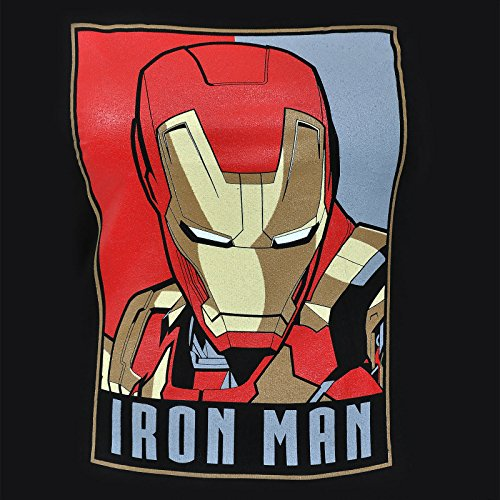 T-shirt super-héros format poster Marvel Iron Man - Sous licence - Pour dame - Noir Noir - Noir