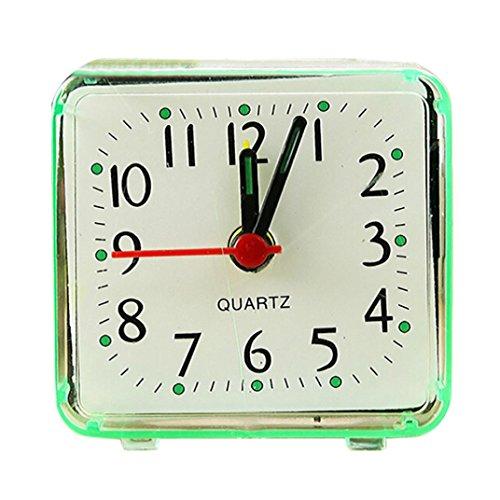 Zarupeng Kleine Quarzwecker, Quadratisch Elektronischer Reisen Analog Quarz Beep Wecker Tragbar Studenten Uhr (One Size, Grün)