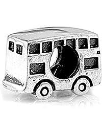 Charm Abalorio Autobús de dos pisos - Plata de ley .925