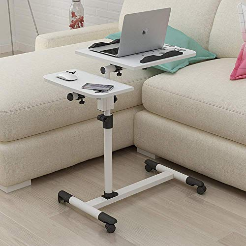 Einfaches Laptop-Schreibtischbett mit einfachem Klappboden, mobilem Hub-Nachttisch A + (Farbe: Weiß) -