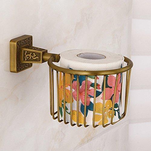 FJH Einfache Messing-Papier Handtuch Korb WC Wand-Toilettenpapier Ständer Anti-Rost