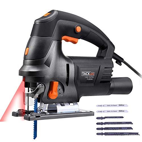 TACKLIFE Elektro Stichsäge mit Laser,800W, mit 6 Sägeblättern, Holz-100mm, Metall-10mm-PJS04A