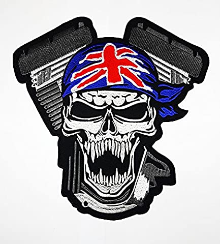Big Union Jack UK Skull Flagge stolz British Patch Weste/Jacke Biker Patch Motorrad Fahrer Biker Tattoo Jacket T-shirt Patch Sew Iron on gesticktes Schild (Classic British Motorräder)