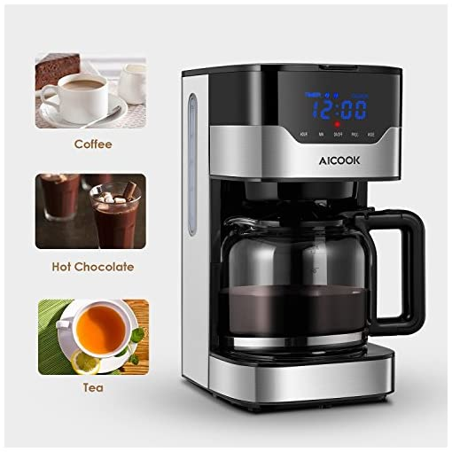 Coffee Maker, Filter Coffee Machine, Aicook 12 Cup Programmable Coffee Maker with Timer, Carafe, Anti-Drip System, Permanent Reusable Filter, Black and Silver.