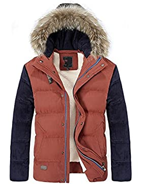 MHGAO Capa de la chaqueta con capucha del invierno de los hombres de Down , red , m