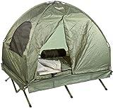 Semptec Urban Survival Technology Zelt: 4in1-Doppelzelt mit 2 Schlafsäcken, Matratze, Liege und Kissen (Zelt mit integrierter Matratze)