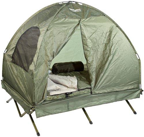 Semptec Zelt: 4in1-Doppelzelt mit 2 Schlafsäcken, Matratze, Liege und Kissen (Zelt mit integrierter Matratze)