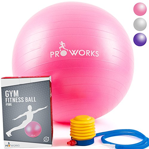 """Proworks Anti-Burst Exercise Ball 65cm / 25.5"""" Heavy Duty Fitness Ball with Pump Test"""