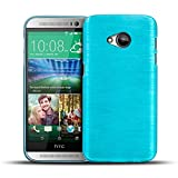 Conie Design Case Hülle für HTC One M7 Schutzhülle Tasche Handytasche Brushed Silikon Case Slim hellblau