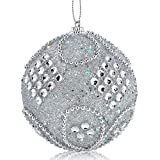 Decoracion de muebles, BaZhaHei, Adorno navideño de diamantes de imitación con adornos de purpurina, adornos de árbol de navidad, decoración de 8 cm de Bola de Navidad de alto grado de cadena