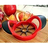 8 Blade Stainless Steel Apple Slicer Corer Fruit Cutter Plastic Grip Handle (Red)