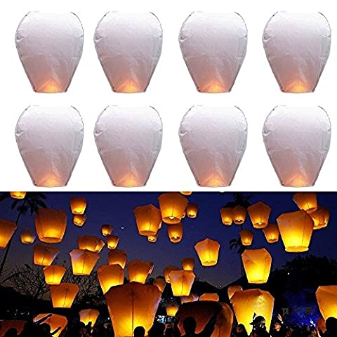 Goodlucky365 22 PCS White Paper Chinese Flying Sky Lanterns Fly Candle Lamp for Wish Party Wedding