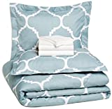 AmazonBasics 7-Piece Bedsheet Set - Full/Queen Extra Long, Dusty Blue Trellis