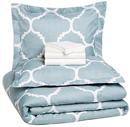 AmazonBasics 7-Piece Bedsheet Set - Full/Queen Extra Long, Dusty Blue Trellis (Includes 1 bedsheet, 1 comforter, 4 pillowcases, 1 fitted sheet)