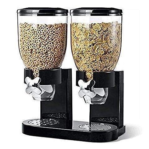 Sweety House Schwarz Müslischalen Double Spender Maschine Frühstück für Lebensmittel Aufbewahrung Küche