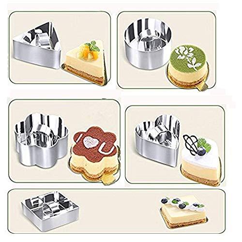 5-teilige Edelstahl-Backform - Dessert-Kuchen-Mousse-Form Mini-Backform und Push-Kuchen-Ring-Dessertherstellung 5 Dessert