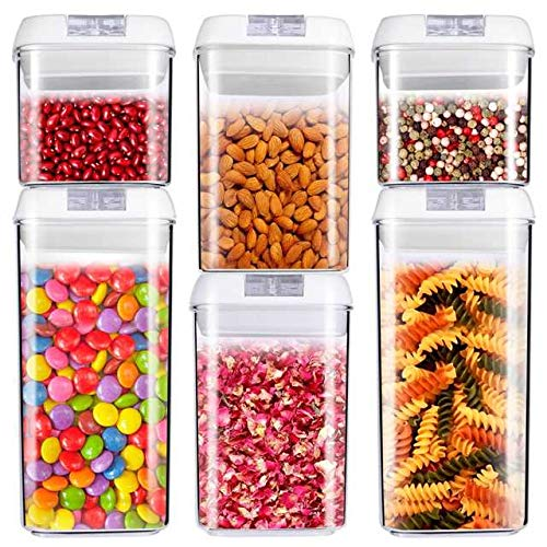U-MISS Air-Tight Food Storage Container Set [6-Piece Set] - Pantry Durable Seal Pot - Cereal Storage Containers - for Dry Foods & Liquids - BPA Free - Clear Containers with White Lids