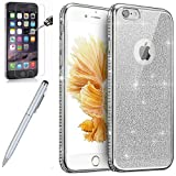 Kompatibel mit Hülle iPhone 6S Plus/6 Plus Hülle,[Hartglas Schutzfolie Stylus Strass Diamant Bling Glitzer Überzug Clear TPU Silikon Handyhülle Durchsichtig Schutzhülle für iPhone 6S Plus,Silber