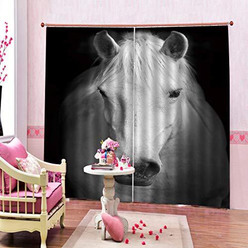 LLPZ Vorhang Polyester Pferd Mehrzweck Schimmel Wasserdicht Druck Dekoration 2 Panel Ohne Stange 2xL135xH225cm (Pferd-gewebe-panel)