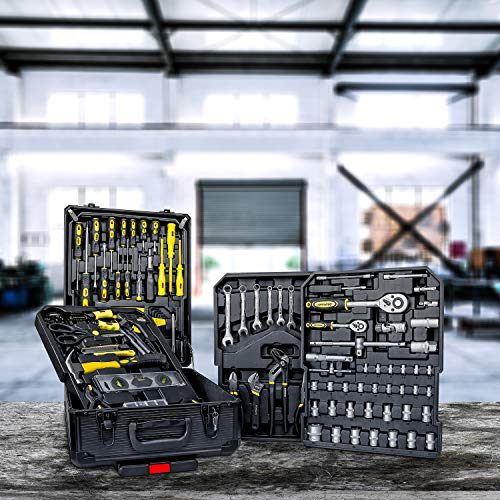 Daimann tl01 set professionale 285 attrezzi utensili in acciaio con trolley valigia con 4 cassetti vassoi portautensili