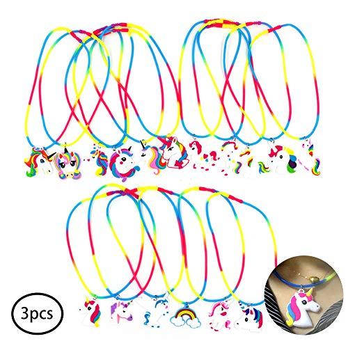 Hilai 3 Piezas de PVC Arco Iris del Unicornio de Silicona Fiesta de cumpleaños del Unicornio Collar favores de Suministros Unicornio Fiesta para los niños de los niños