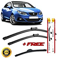 Set of 3 flat blade wiper blades for SEAT IBIZA IV 2008 rear wiper FREE of