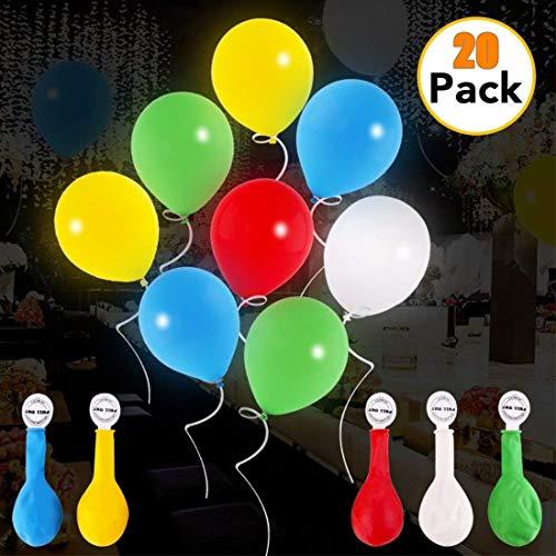 AISIGE Globos led iluminados Colores Ideal para Fiestas, día de San valentín, cumpleaños y Decoraciones de Boda, rellenable con Helio, Aire Paquete de 20