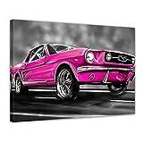 Bilderdepot24 Kunstdruck - Mustang Graphic - pink - Bild auf Leinwand - 40x30 cm - Leinwandbilder - Bilder als Leinwanddruck - Wandbild