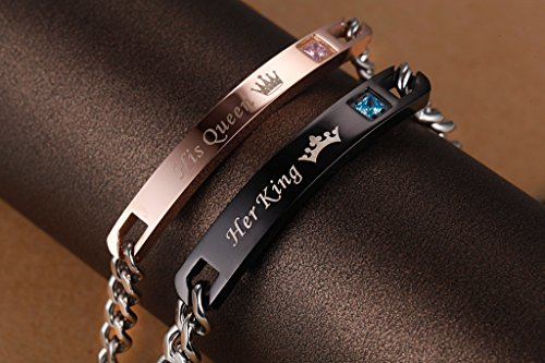 """COAI """"His Queen"""" und """"Her King"""" Schrift ein Paar Partner Ambänder aus Edelstahl"""