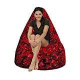 Decorative rose style Canvas HD printed bean bag with beans filled xxxl Comfortable Seating for Kids and Adult by Aart Store