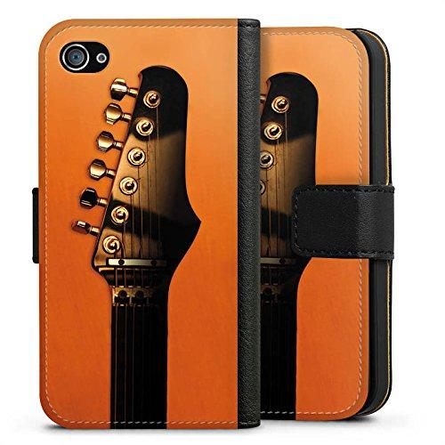 Apple iPhone X Silikon Hülle Case Schutzhülle Gitarre Saiten Instrument Sideflip Tasche schwarz