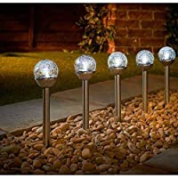 spot on dealz 5pk Solar Powered Mini crackle Ball Post Light Garden Outdoor-White LED