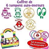 Coffret de 6 tampons de professeur en français : Avec Aide, Attention au soin, Vu, Très bon travail/Continue ainsi, Continue tes efforts, Travail non terminé...