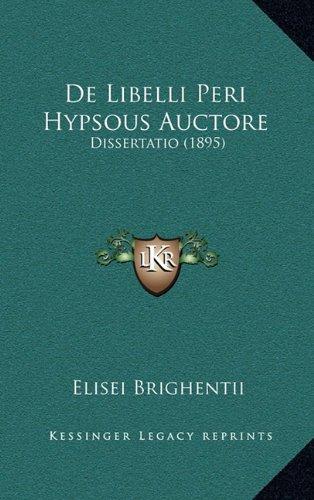 de Libelli Peri Hypsous Auctore: Dissertatio (1895)